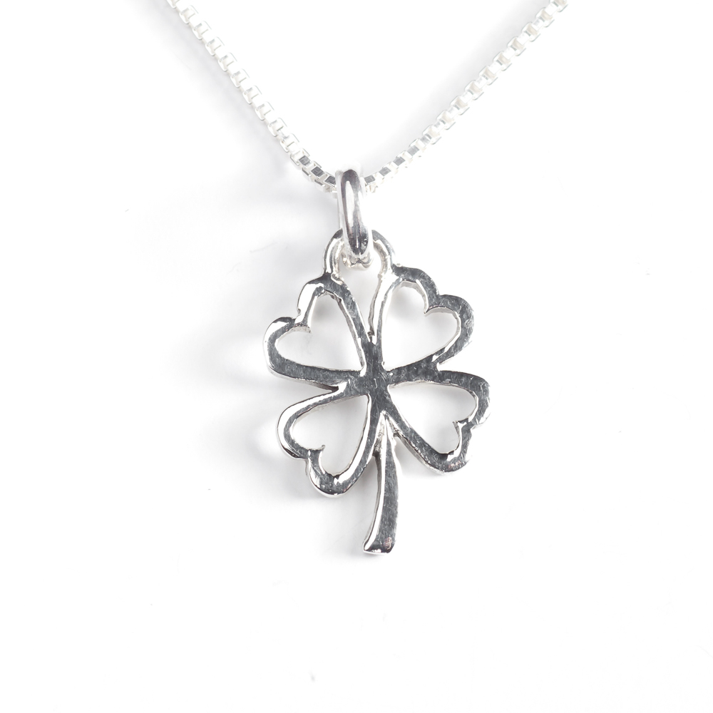 leaf necklace horseshoe with clover sterling lucky cz silver